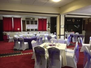 The hall for hire decorated for an event